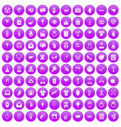 100 heart icons set purple vector