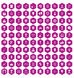 100 trophy and awards icons hexagon violet vector image