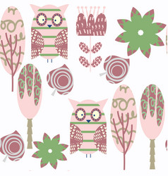 abstract adorable nature owls seamless pattern it vector image