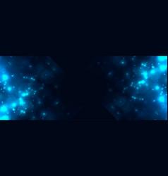abstract blue bokeh light sparkles banner design vector image
