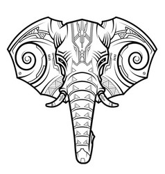 Abstract elephant head in techno drawing style vector