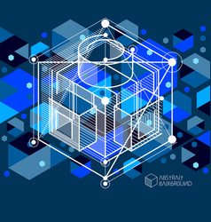 abstract geometric isometric dark blue background vector image