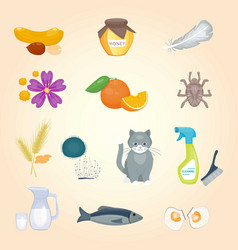 allergy symbols disease healthcare food viruses vector image
