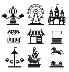 Amusement park objects icons mono set vector