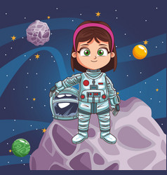 Astronaut girl in the space vector