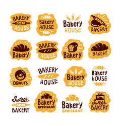 Bakery house shop logo food set vector