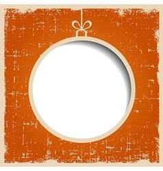 Blank christmas ball on orange textured grunge vector