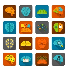 Brain icons flat set vector image