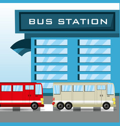bus in the station transport vector image