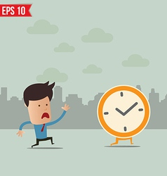 Business man run follow the clock - - EPS10 vector