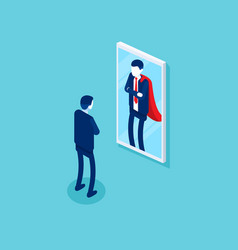 Businessman stands in front a mirror vector