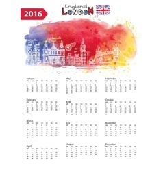 Calendar 2016London Landmarks panoramawatercolor vector image