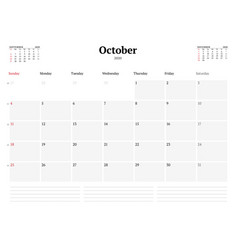 Calendar template for october 2020 business vector