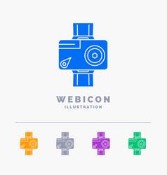camera action digital video photo 5 color glyph vector image
