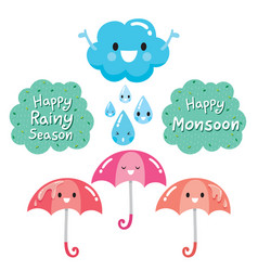 Cartoon character of cloud umbrella and raindrop vector