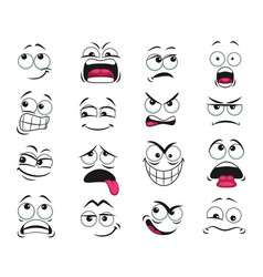 Cartoon face expression isolated icons set vector
