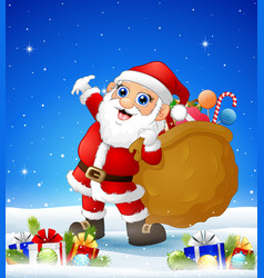 cartoon santa bringing sack in the winter backgrou vector image