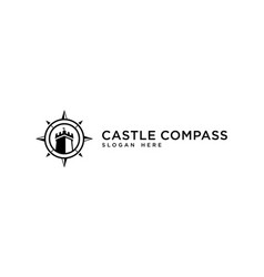Castle and compass concept adventure or journey vector