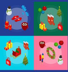 christmas celebration banner card set 3d isometric vector image