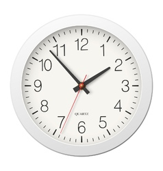 Classic round wall clock with white body vector image