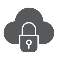 cloud and lock glyph icon data and protect cloud vector image