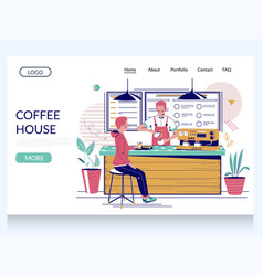Coffee house website landing page design vector