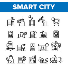 Collection smart city elements icons set vector