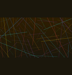 colorful random chaotic lines texture on black vector image