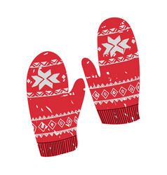 Colorful ugly christmas mittens vector