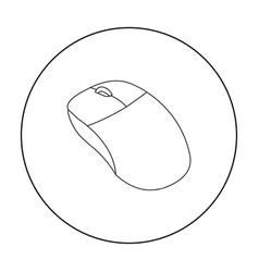 Computer mouse icon in outline style isolated on vector