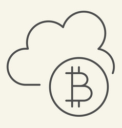 cryptocurrency cloud thin line icon bitcoin and vector image