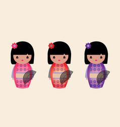 cute japanese kokeshi dolls vector image