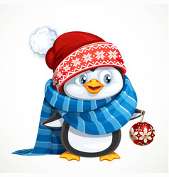 cute penguin in santa hat hold a gift box vector image