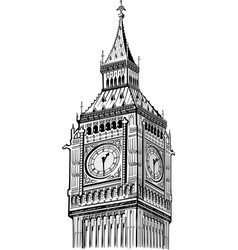 Detail big ben tower london symbol england vector