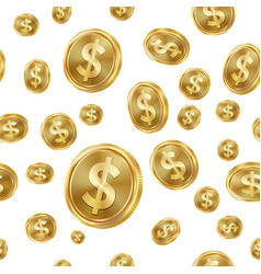 Dollar seamless pattern gold coins vector