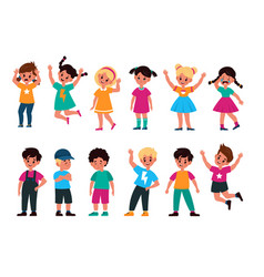 emotional kids cute boys and girls afraid vector image