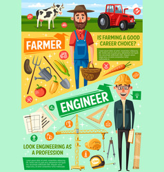 Farmer building engineer or architect professions vector