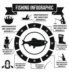 Fishing infographic elements simple style vector image