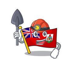 Flag bermuda isolated miner cartoon mascot vector