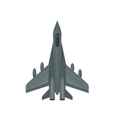 Flat icon of fast military aircraft air vector