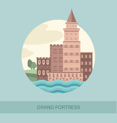 Fortress side view or tourist showplace vector