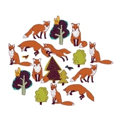 Fox forest color isolate objects white round vector