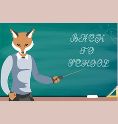 Fox teacher children education school vector