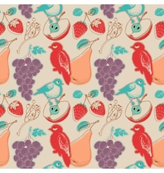 Fruits and birds retro seamless pattern vector