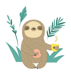 funny sloth with doughnut and cup coffee vector image