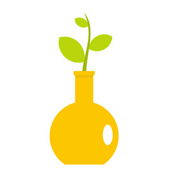 Green plant in a yellow vase icon isolated vector