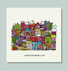 greeting card design european city street vector image
