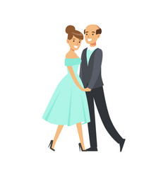 happy couple dancing ballroom dance colorful vector image vector image