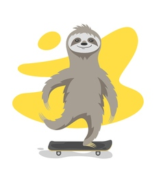happy cute sloth on skateboard Sloth riding vector image