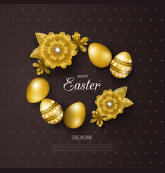 happy easter background with golden eggs and vector image